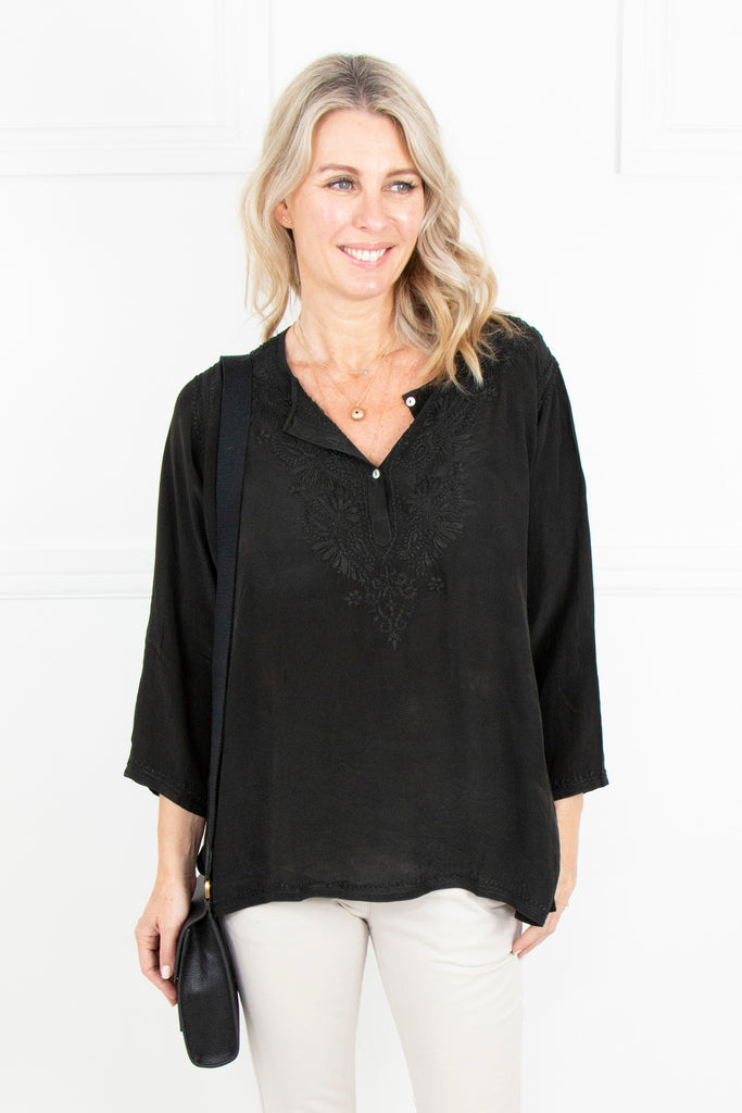 Black Kaftan Top - desray.co.za