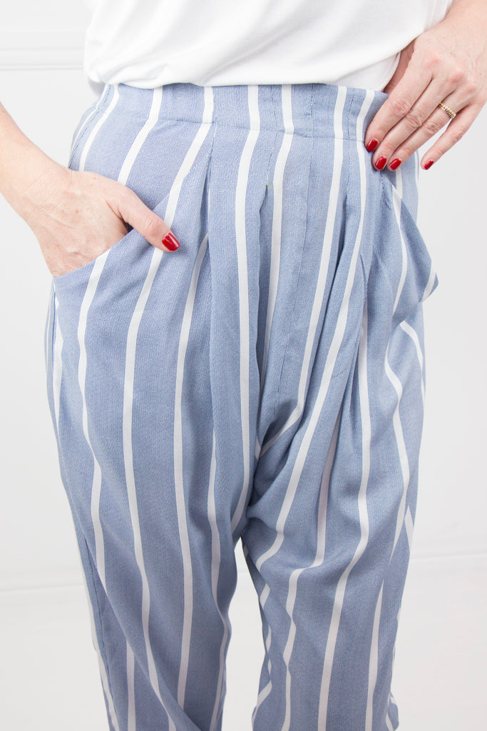 Blue Stripe Boho Pants - desray.co.za