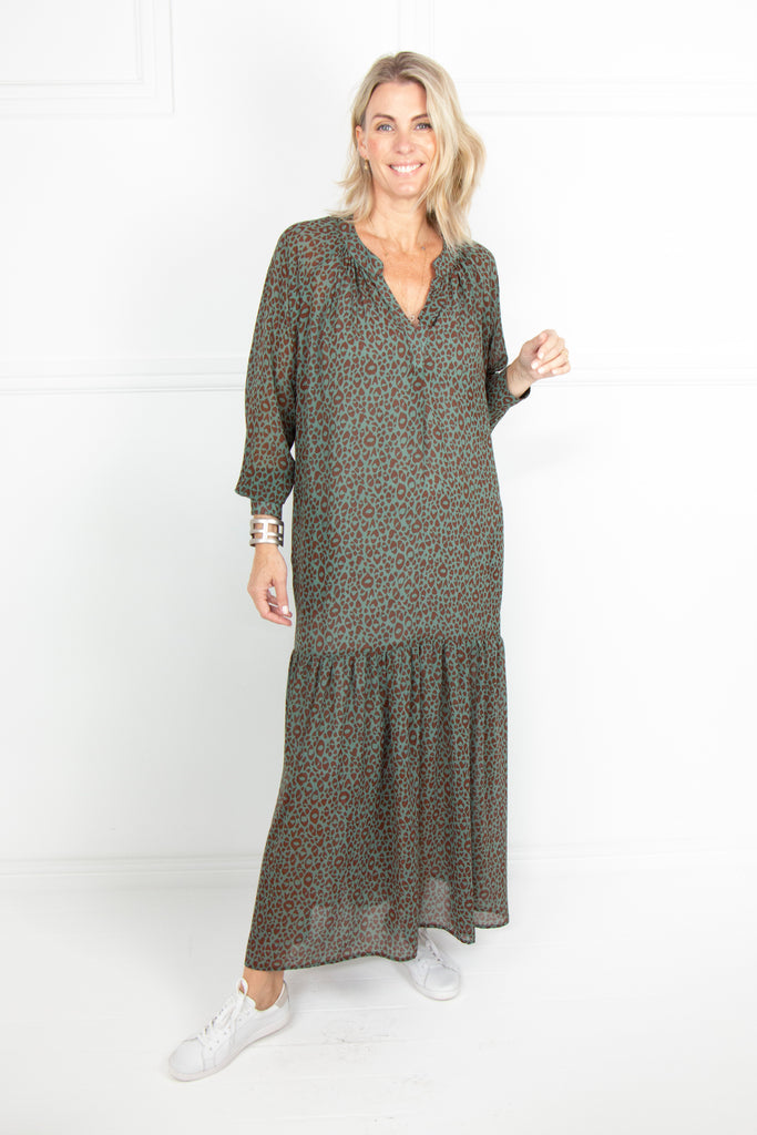 Turq Animal Long Sleeve Tiered Dress - desray.co.za