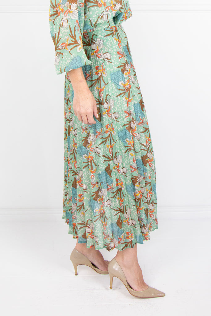 Mint Floral Pleated Skirt - desray.co.za