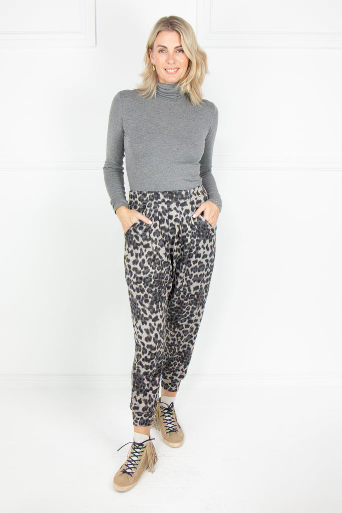 Grey Animal Print Boho Pants - desray.co.za