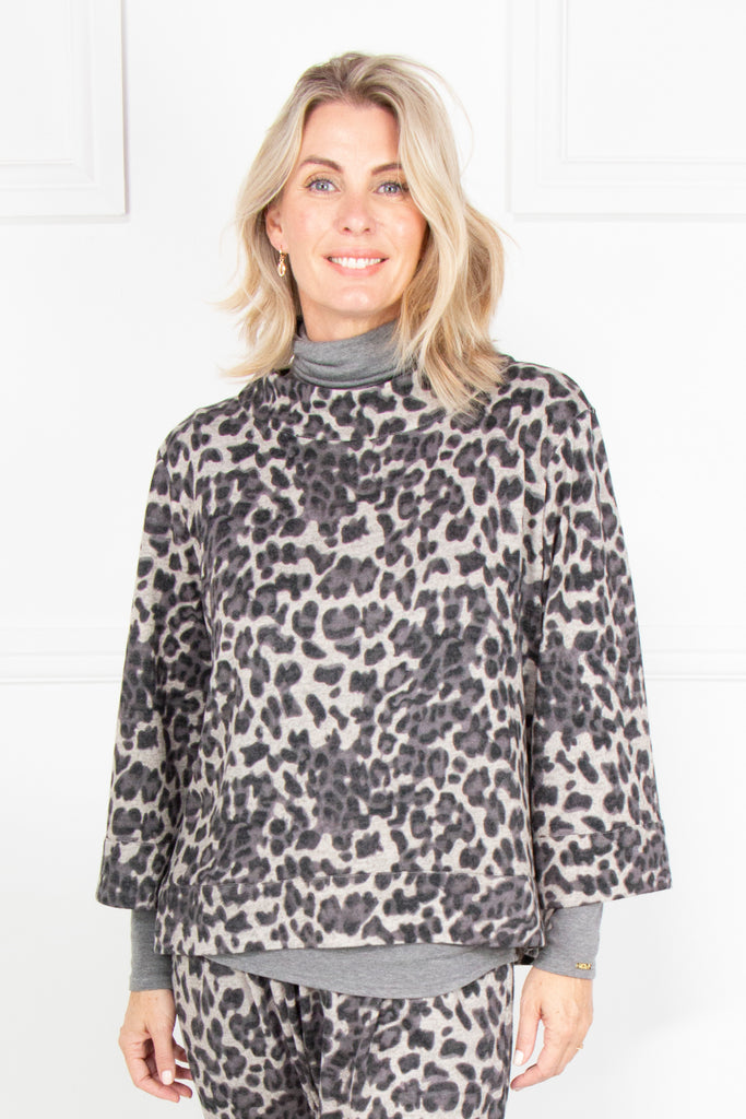 Grey Animal Print Coat Top - desray.co.za