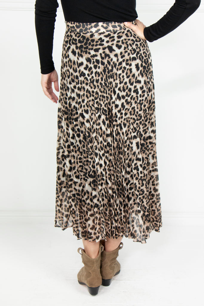 Animal Print Sunray Pleated Skirt - desray.co.za