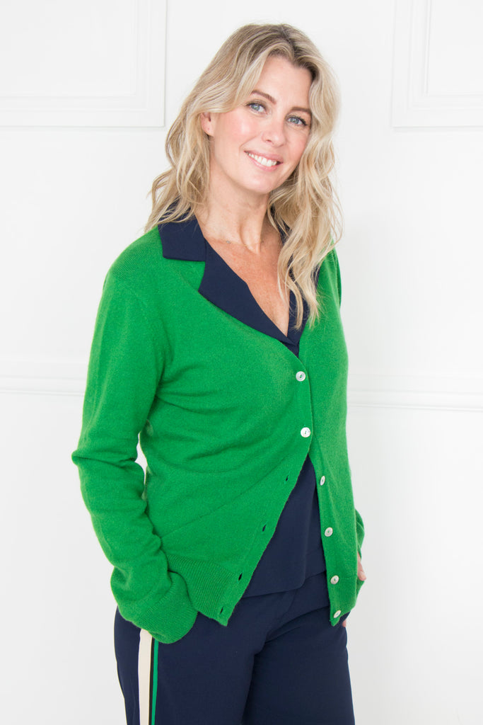 Green Cashmere/Cotton Cardi - desray.co.za