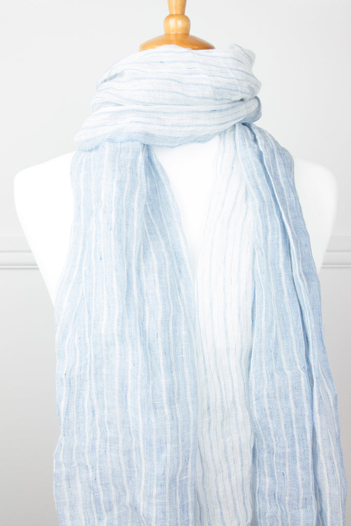 Pale Blue Stripe Tassel Scarf - desray.co.za
