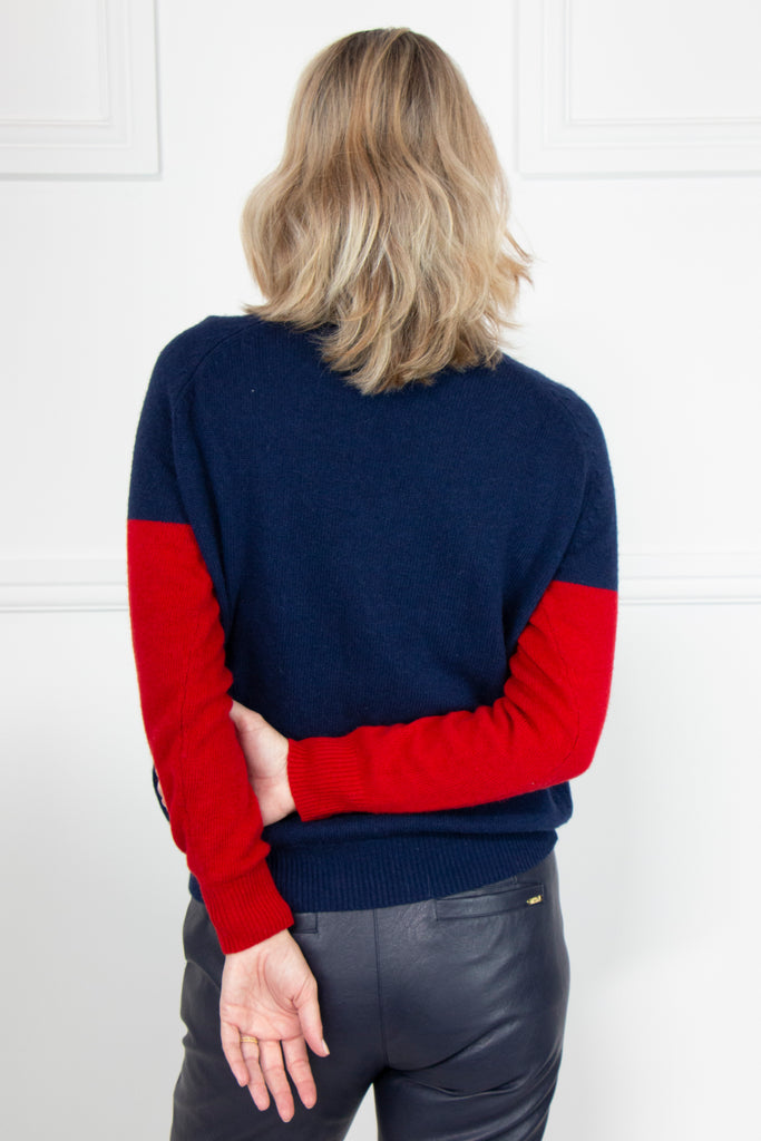 Blue/Red Contrast Star Pullover - desray.co.za