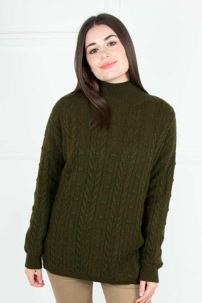 Olive Cable Pullover - desray.co.za