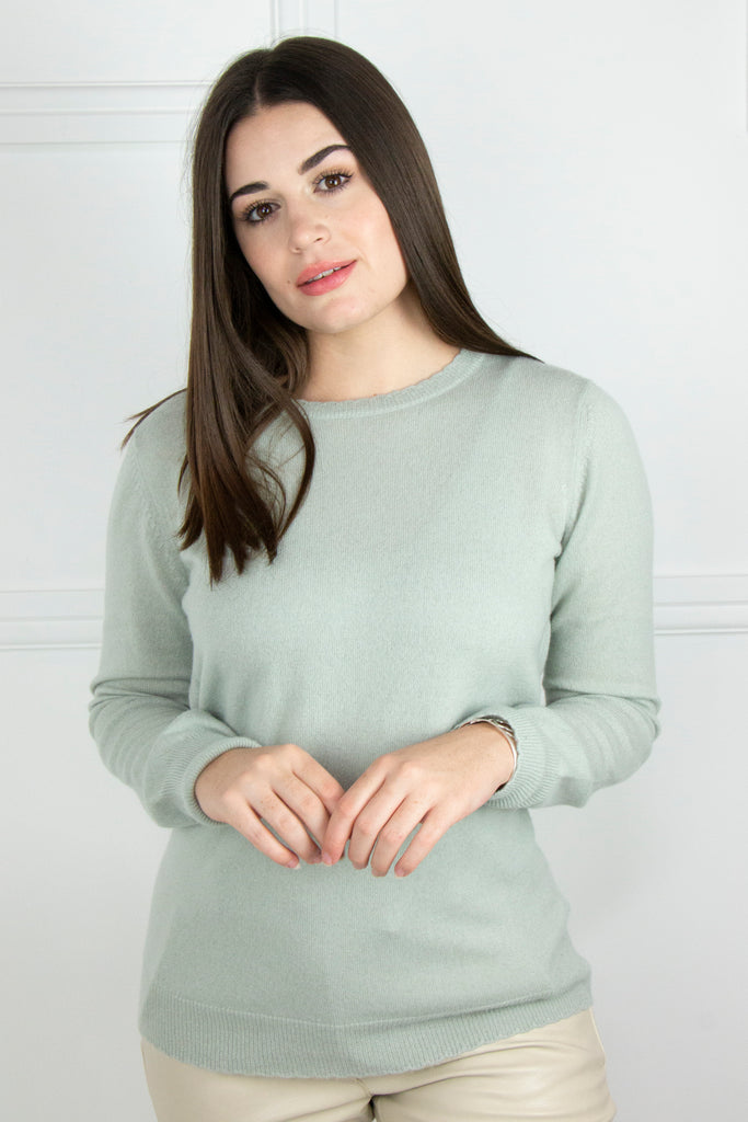 Sage Cashmere/Cotton Pullover - desray.co.za