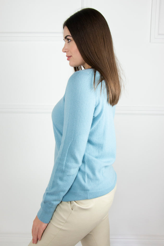 Sky Blue Cashmere/Cotton Pullover - desray.co.za