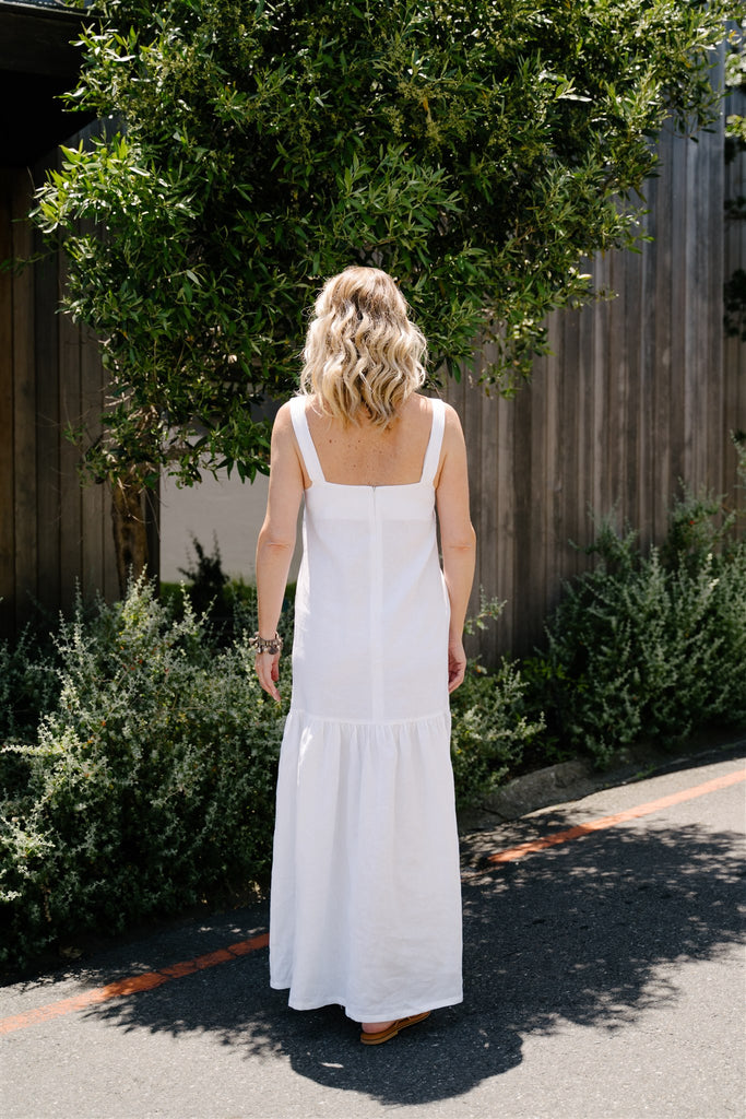 White Linen Dungaree Dress - desray.co.za
