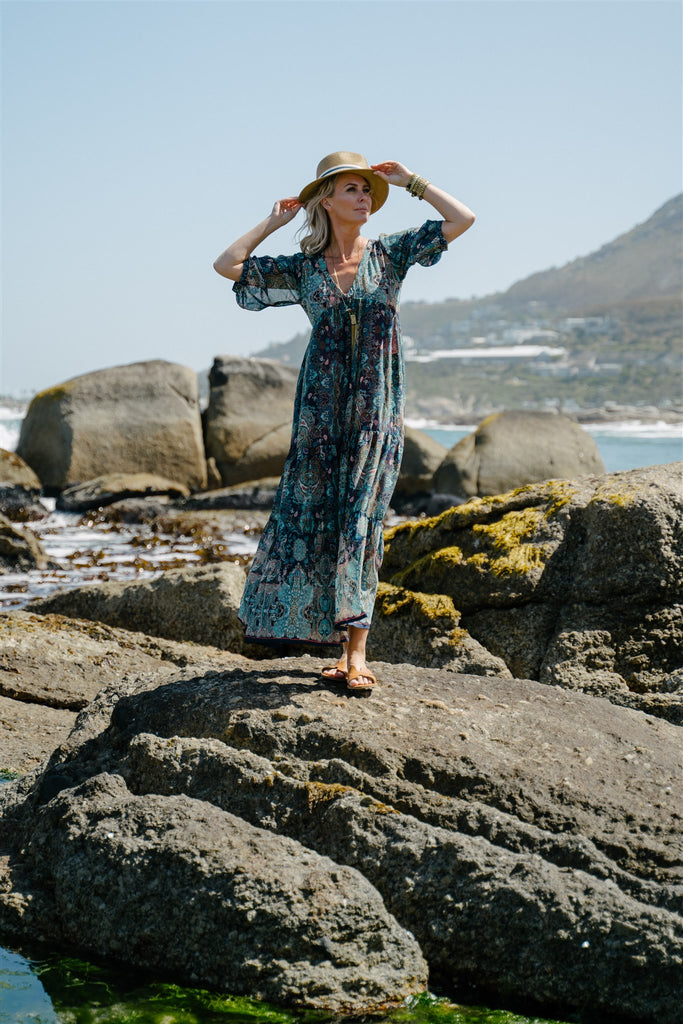 Aqua Paisley Maxi Dress - desray.co.za