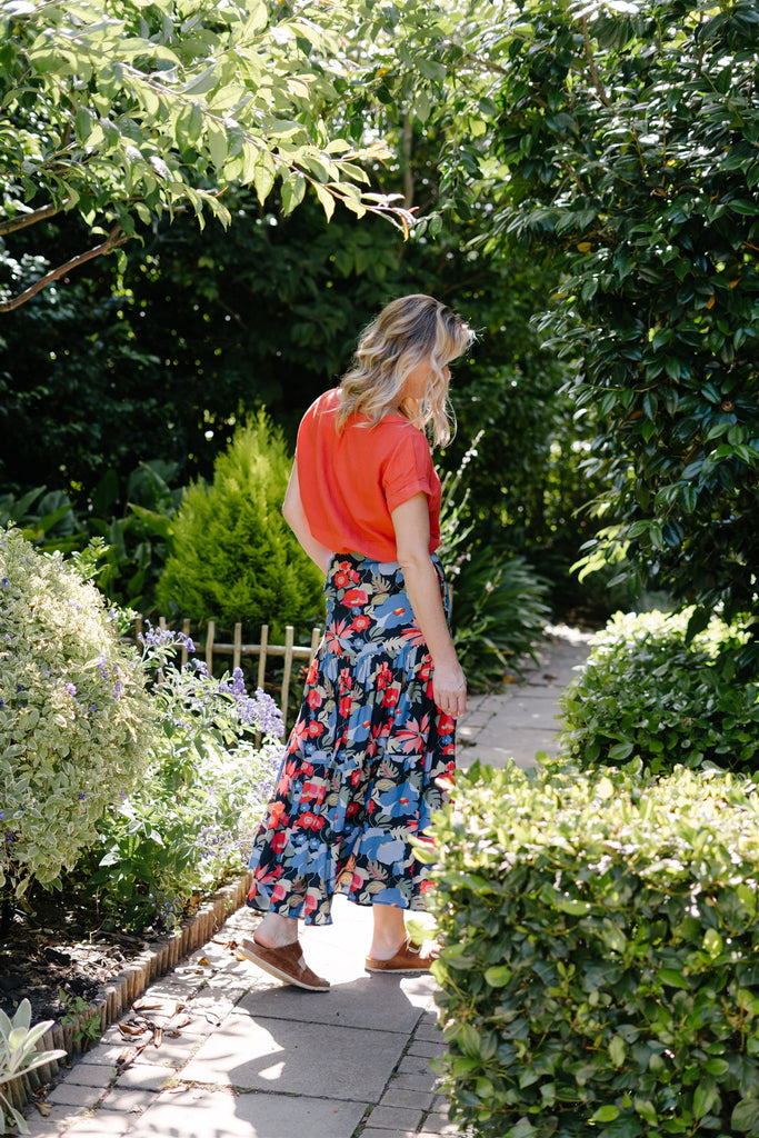 Blue Floral 2 Tiered Skirt - desray.co.za