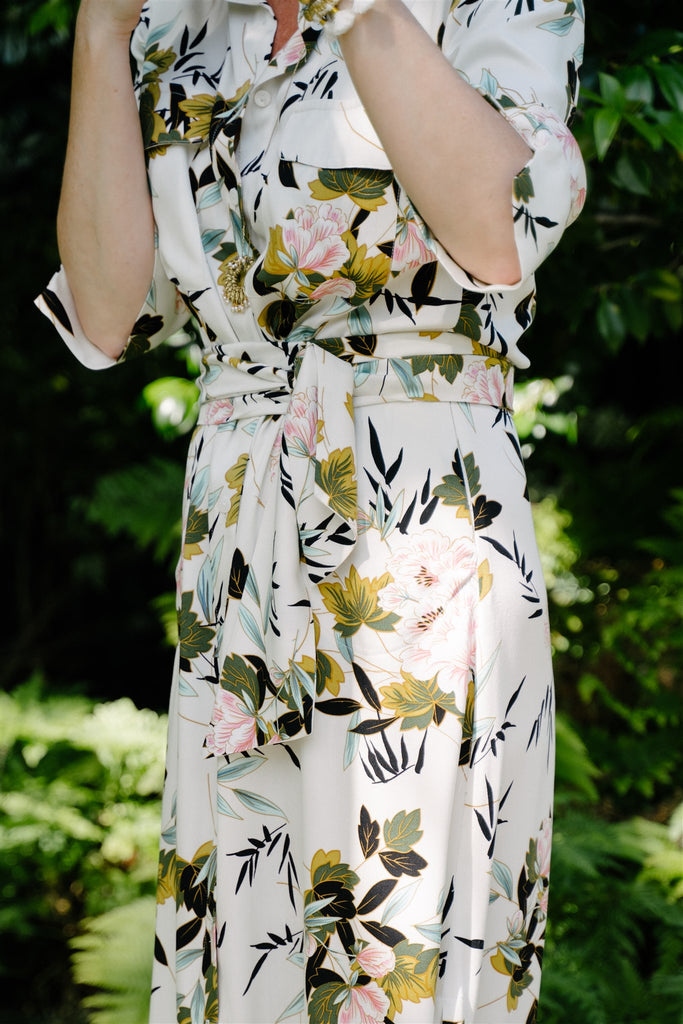 Cream Floral A- Line Dress - desray.co.za