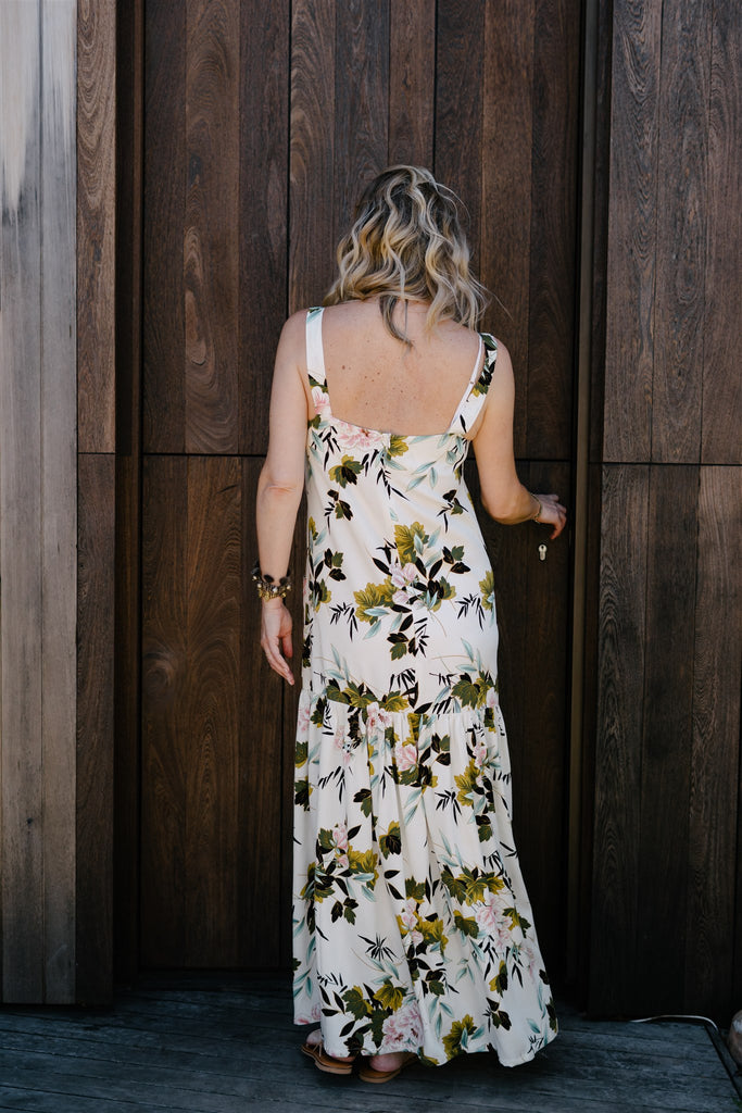 Cream Floral Dungaree Dress - desray.co.za