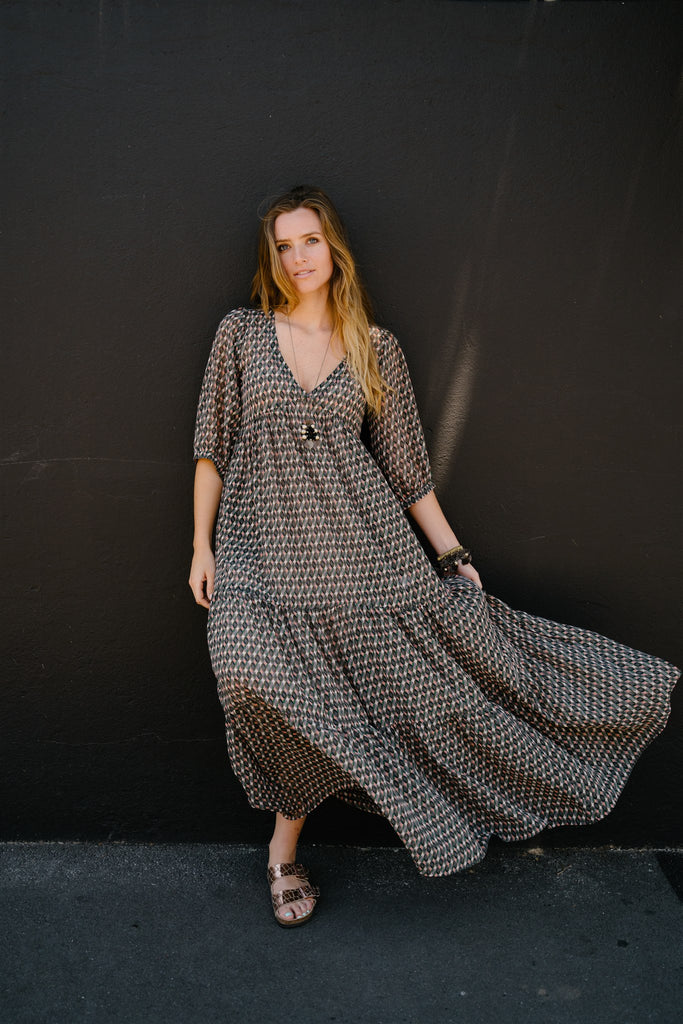 Olive and Peach Maxi Dress - desray.co.za