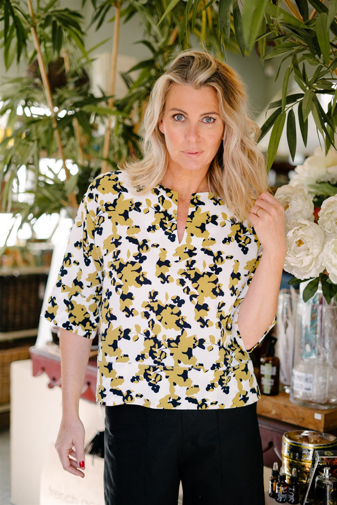 Black and Ochre Printed Top