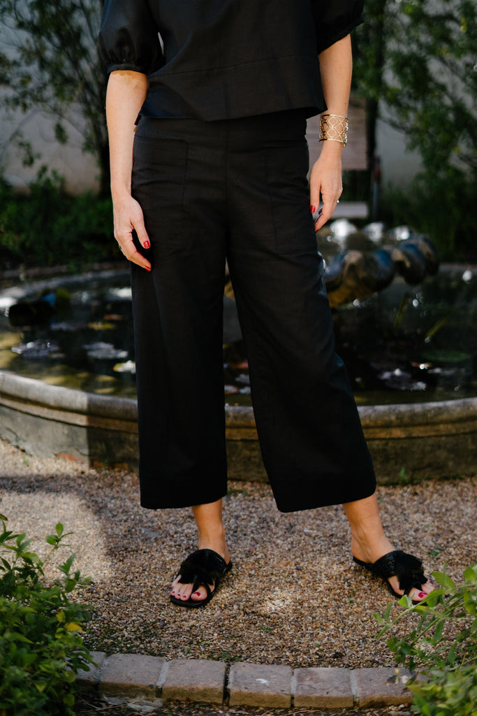 Black Linen Pocket Pants - desray.co.za