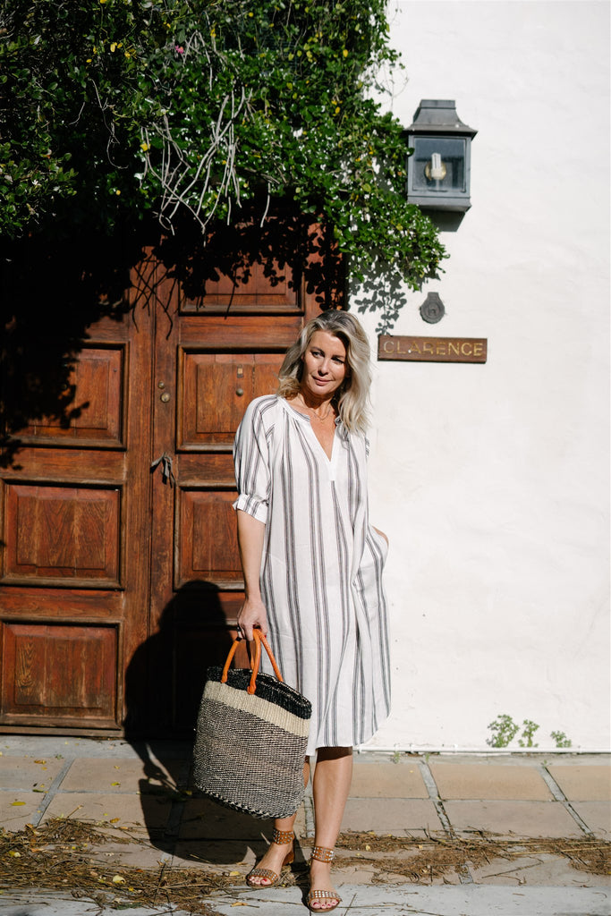 Stripe Textured Linen Kaftan - desray.co.za