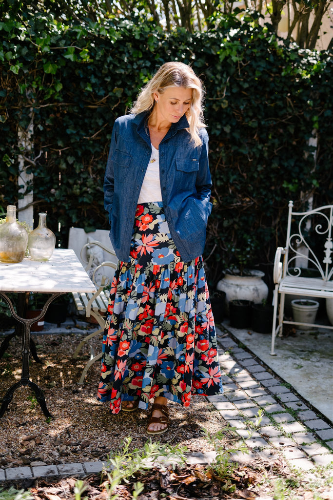 Blue Floral 2 Tiered Skirt
