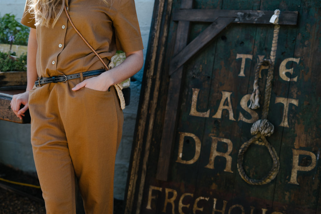 Tan Linen Jumpsuit - desray.co.za