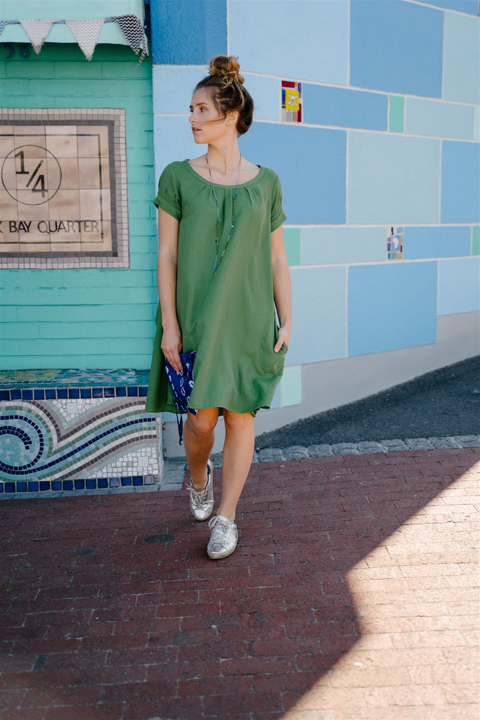 Green Linen Pleat Dress - desray.co.za