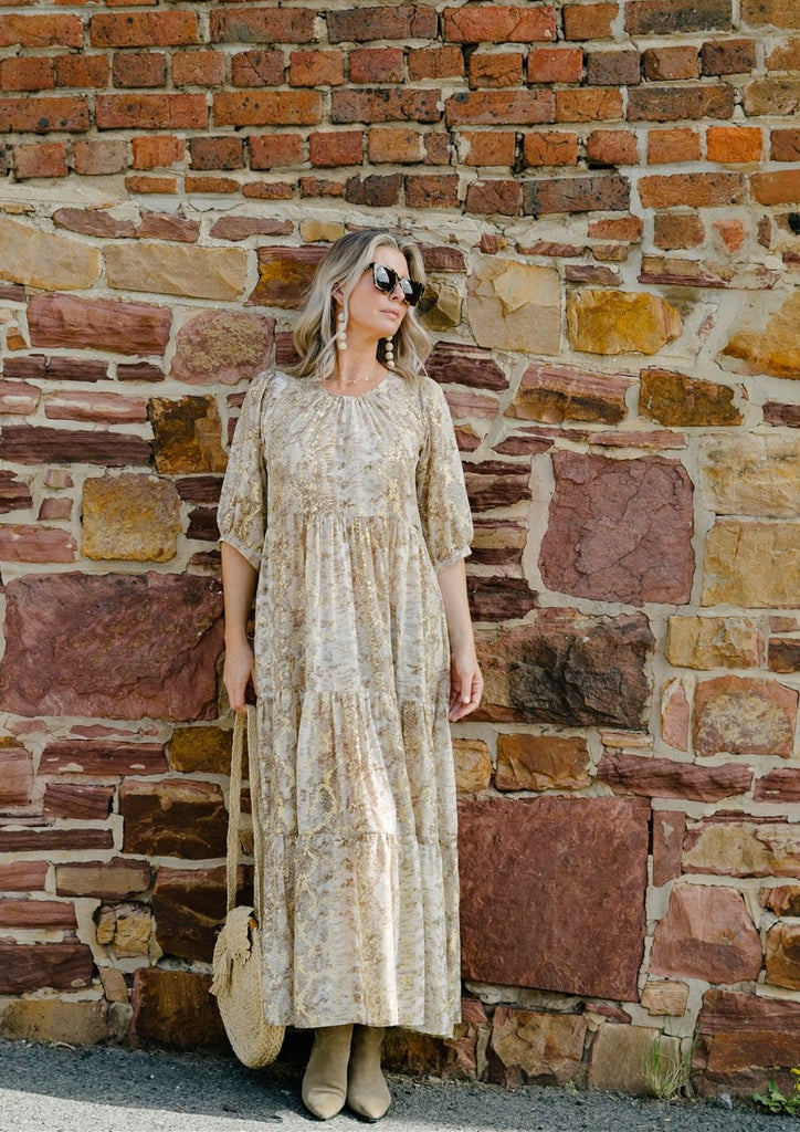 Gold Foil Animal Long Tiered Dress - desray.co.za