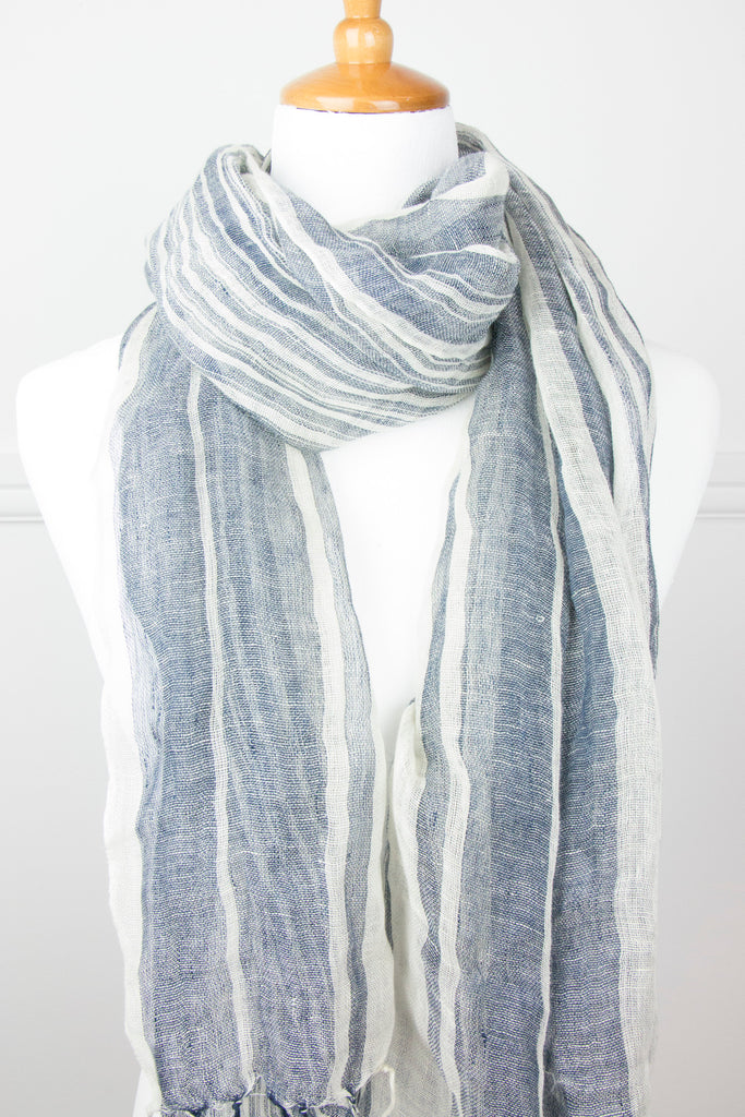 Navy/Cream Stripe Linen Scarf - desray.co.za