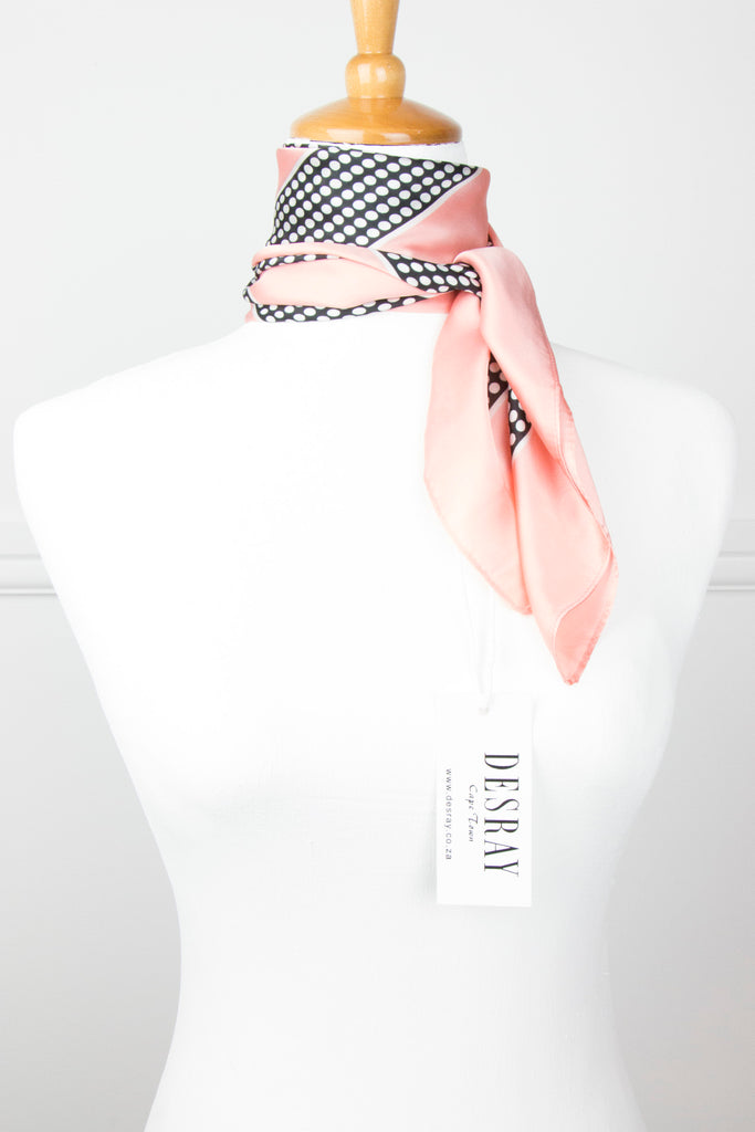 Pink/Black Polka Dot Neck Scarf - desray.co.za