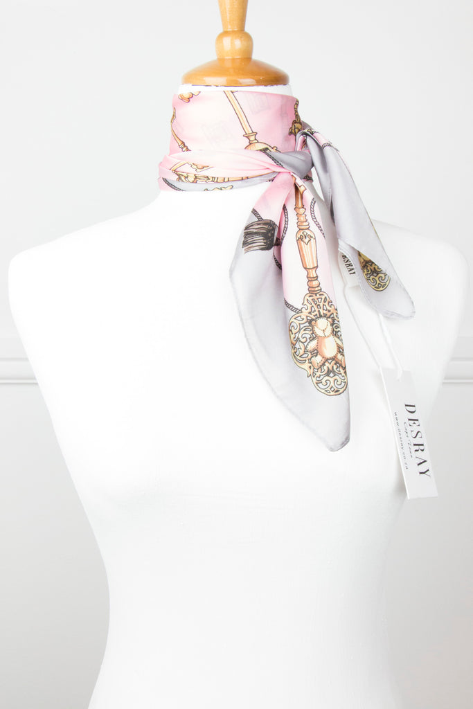 Pink/Grey Keys Neck Scarf - desray.co.za