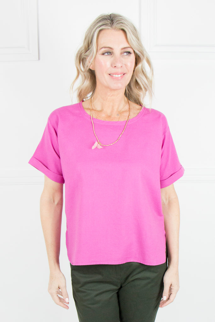 Pink Linen T-shirt Top - desray.co.za