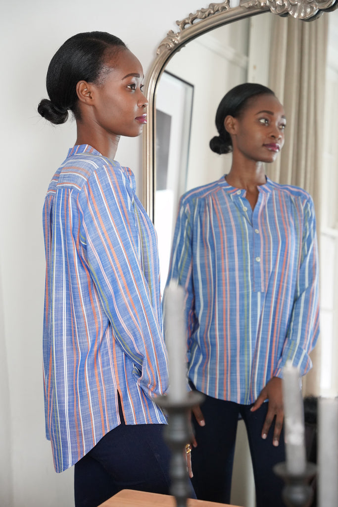 Blue Fancy Ribbon Shirt - desray.co.za