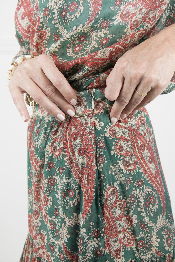 Teal and Coral Paisley Skirt - desray.co.za