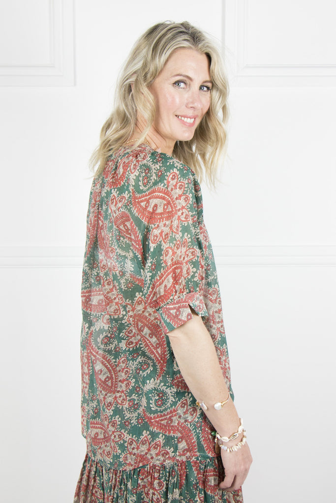 Teal and Coral Paisley Top - desray.co.za