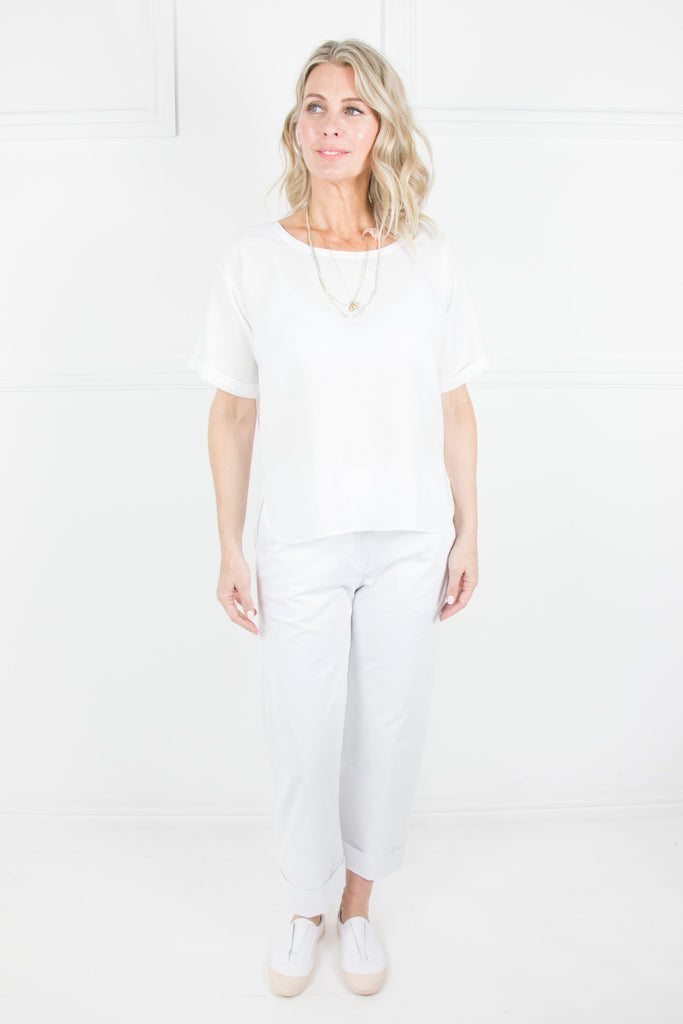 White Linen T-shirt Top - desray.co.za
