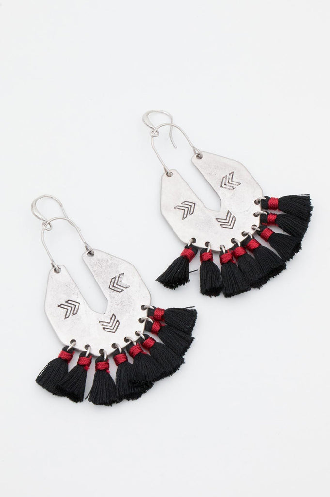 Black and Red Aztec Tassel Earrings - desray.co.za