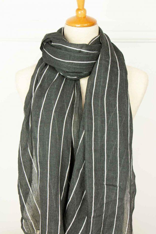 Black and White Pinstripe Scarf - desray.co.za