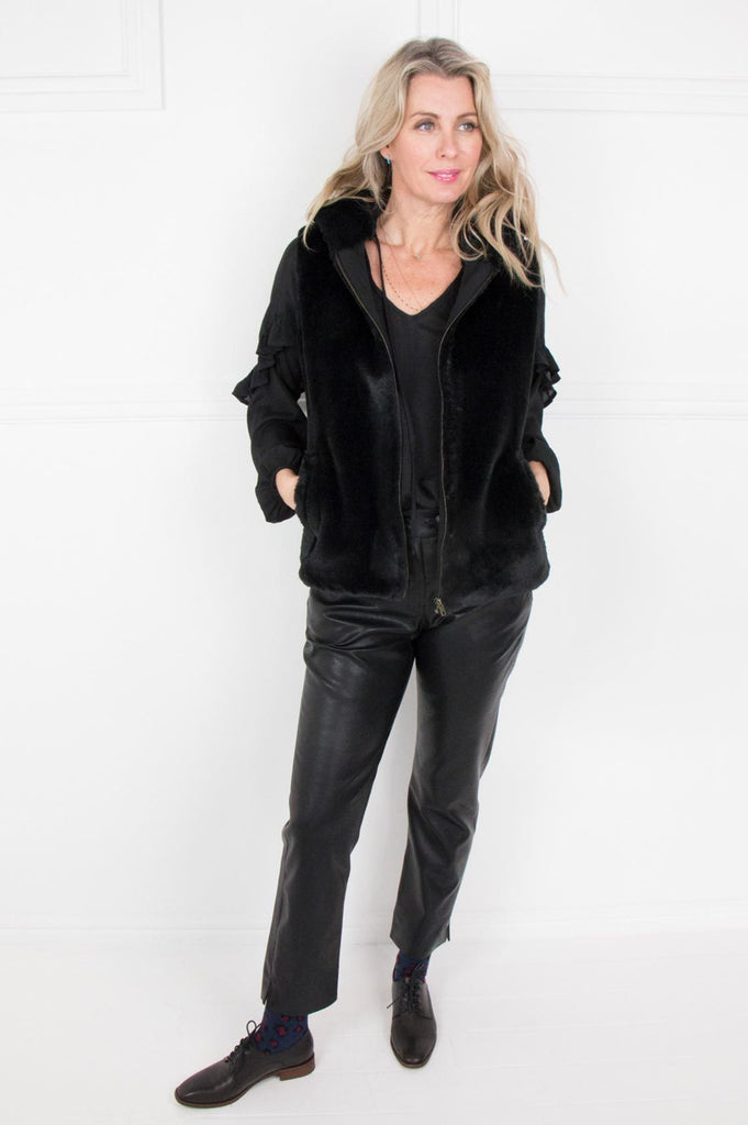 Black Fur Hooded Gillet - desray.co.za