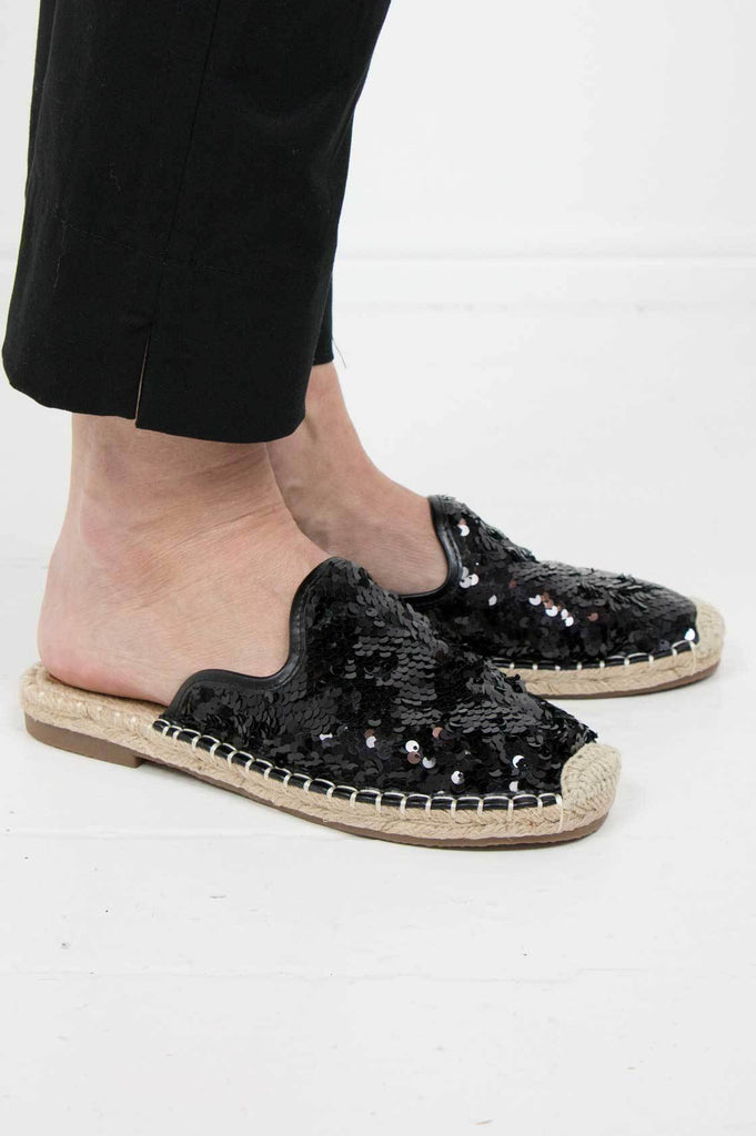 Black Sequin Mule Espadrille - desray.co.za