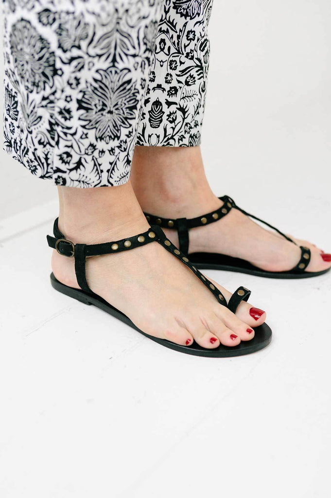 Black Studded Sandal - desray.co.za