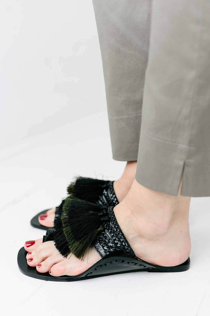Black Tassel Sandal - desray.co.za
