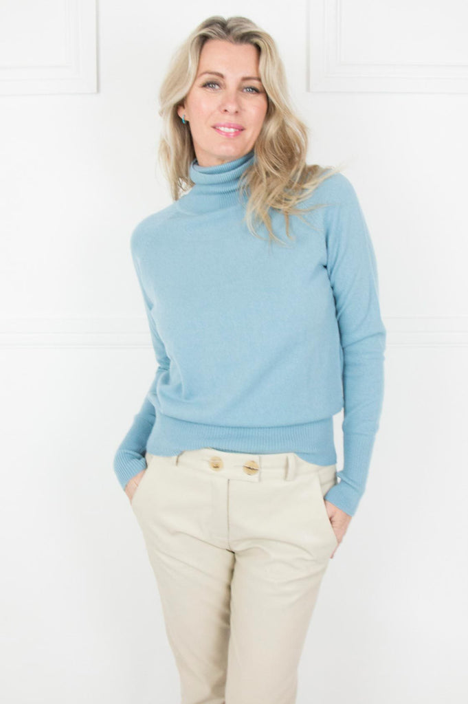 Blue Cashmere/Cotton Poloneck - desray.co.za