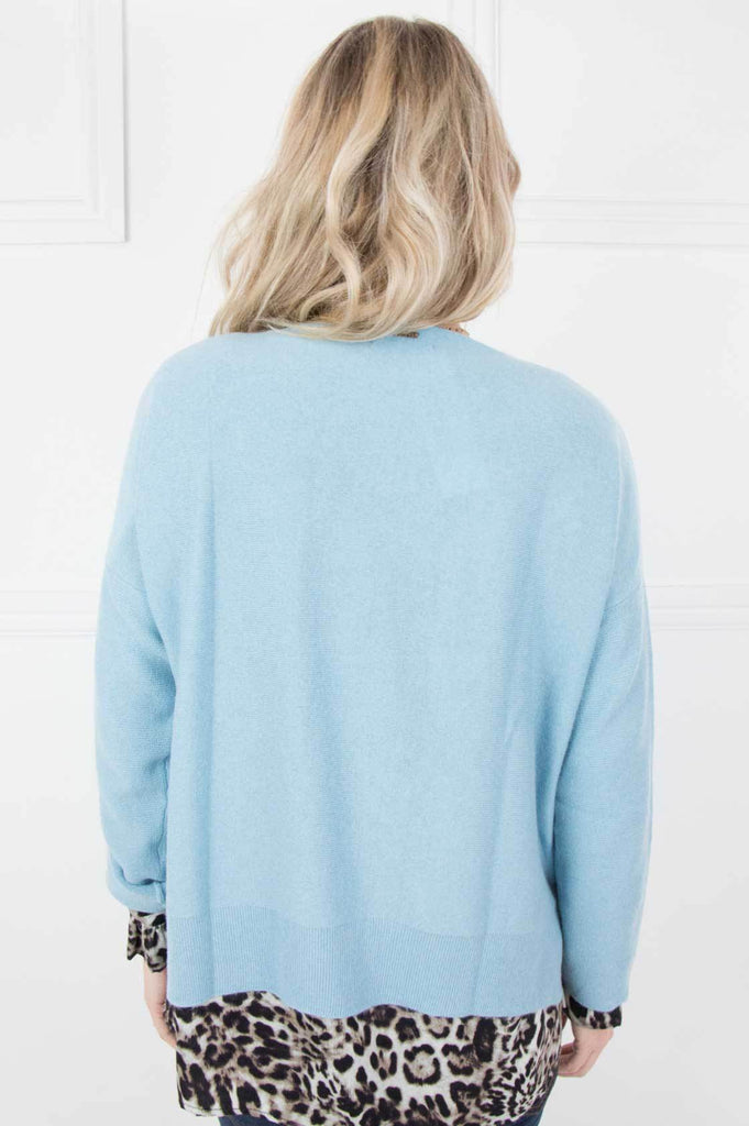 Blue Cashmere/Cotton Slouchy Pullover - desray.co.za