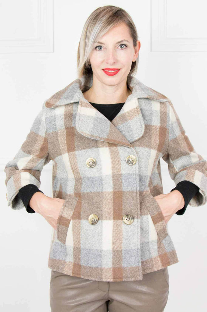 Brown and Grey Double Breasted Coat - desray.co.za