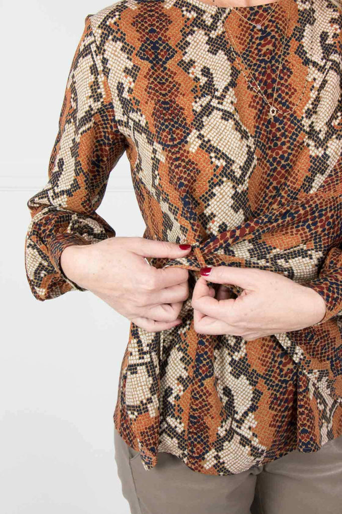 Brown Snakeskin Pull Through Top - desray.co.za