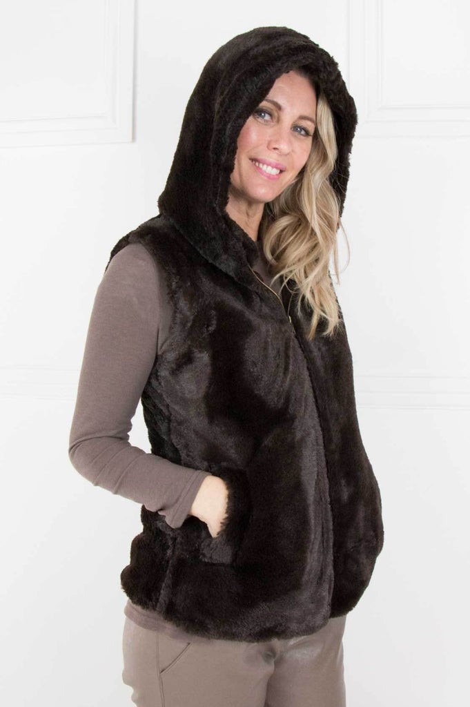Choc Fur Hooded Gillet - desray.co.za