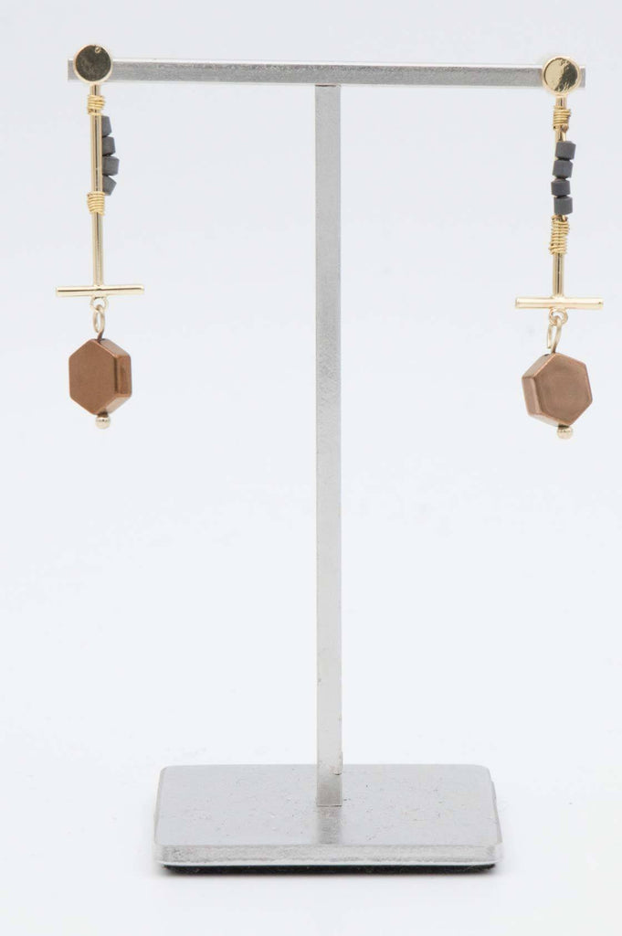 Copper Onyx Drop Earrings - desray.co.za