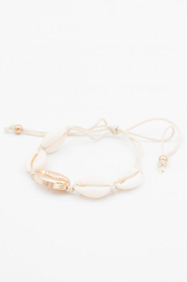 Cream and Gold Cowrie Bracelet - desray.co.za