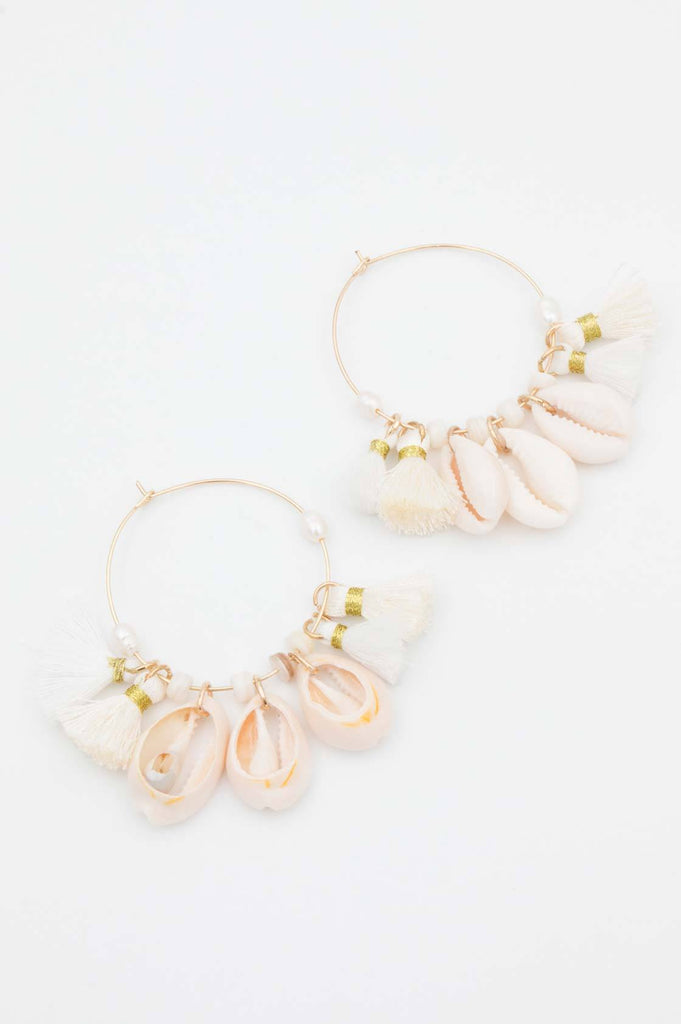 Cream Cowrie Tassel Hoop Earrings - desray.co.za