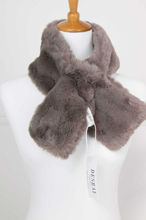 Dark Grey Fur Neck Tie - desray.co.za