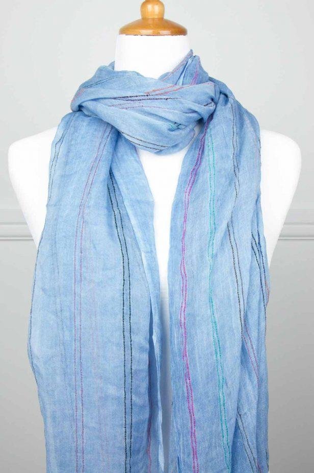 Denim Blue Stripe Scarf - desray.co.za